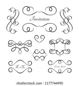 Vintage vignettes and flourishes, set of calligraphic decorative design elements in retro style, vector swirly embellishment on white