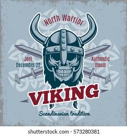 Vintage viking poster with warrior skull in horned helmet and crossed swords vector illustration