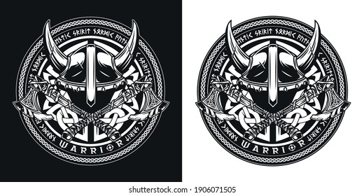 Vintage viking round print with horned helmet and crossed battle axes in monochrome style isolated vector illustration