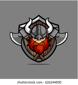 Vintage viking with shield vector stock