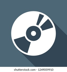 Vintage vinyl, audio disc, dj player. Simple icon, music logo. White flat icon with long shadow on blue background