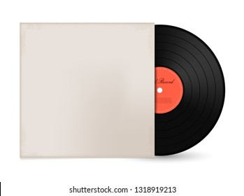 Vintage Vinyl LP Record with Cover Mockup. Vector Illustration on White Background.