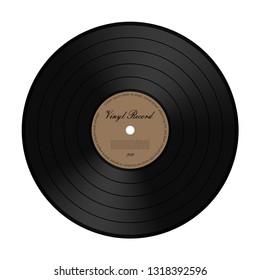 Vintage Vinyl LP Record. Vector Illustration on White Background.