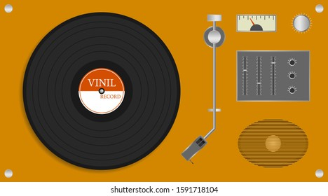 Vintage vinyl record player. Realistic yellow record player with audio speaker and vinyl disc. Vector illustration of a record. Vector.