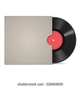 Vintage vinyl record in sleeve over white. Vector illustration