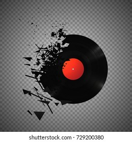 Vintage vinyl records broken and shattered into small pieces isolated vector illustration on transparent background