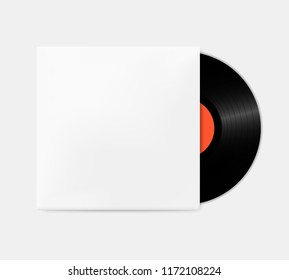 Vintage vinyl records out of the box template. Empty gramophone cover mockup