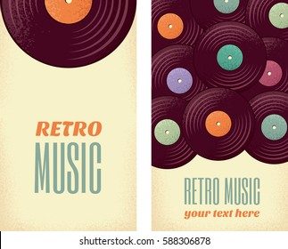 Vintage vinyl records vertical banners. Retro vector illustration. Place your text. Design for poster, invitation, flyer, card, label