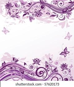 Vintage violet floral background