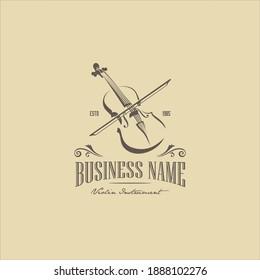 Vintage Violin Viola Fiddle Cello Bass Headstock Music Instrument Logo Design