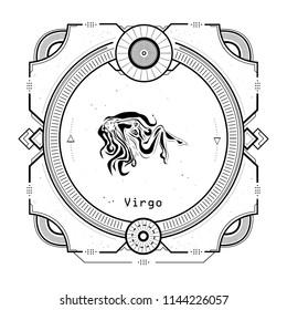 Vintage Virgo zodiac sign Tattoo style