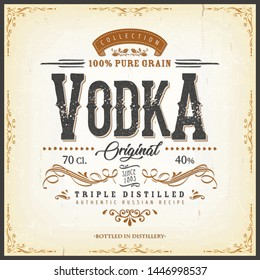 Vintage Vodka Label For Bottle/ Illustration of a vintage design elegant vodka label, with crafted lettering, specific 100% pure grain product mentions, textures and hand drawn patterns