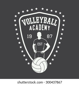 Vintage volleyball label, emblem or logo. Vector illustration