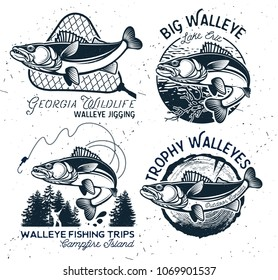 Vintage Walleye Fishing emblem, label and design elements. Vector illustration.