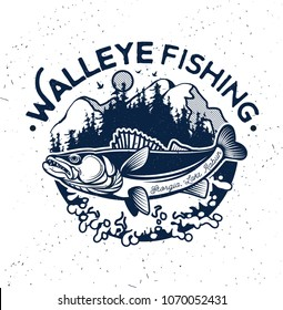 Vintage Walleye Fishing Emblem and Label. Vector Illustration