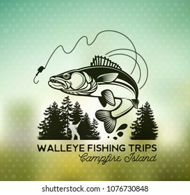 Vintage Walleye Fishing emblem, label and design elements on blur background. . Vector illustration.
