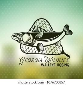 Vintage Walleye Fishing emblem, label and design elements on blur background. . Vector illustration.
