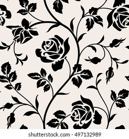 Vintage wallpaper with blooming roses and leaves.Floral seamless pattern. Decorative branch of flowers. Black silhouette on white background