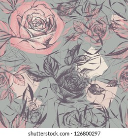 Vintage wallpaper with flowers / Vector illustration of wild roses