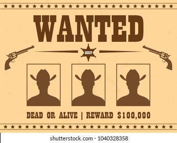 Vintage wanted western poster with avatars of criminal photos in vector
