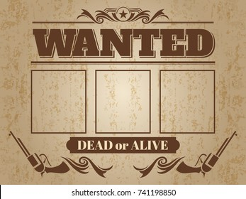 Vintage wanted western poster with blank space for criminal photos - wanted template design. Vector illustration