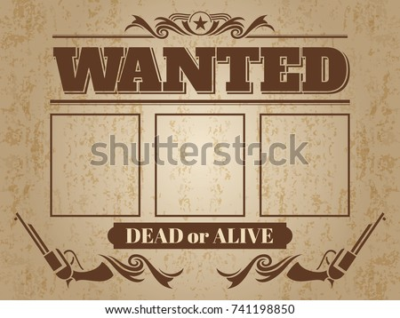 vintage wanted western poster blank space stock vector royalty free
