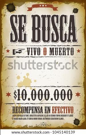 Vintage Wanted Western Poster Illustration Vintage Stock