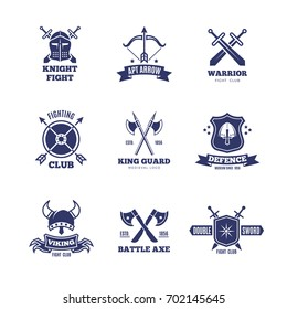 Vintage warrior sword and shield labels. Knight vector badges. Heraldry coat of arms logos. Emblem and label heraldry, sword and coat of arms design illustration
