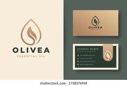 vintage water drop / olive oil logo and business card design
