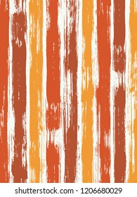 Vintage watercolor brush stripes pattern on white. Red, beige and orange paintbrush lines vertical texture for background. For textile.