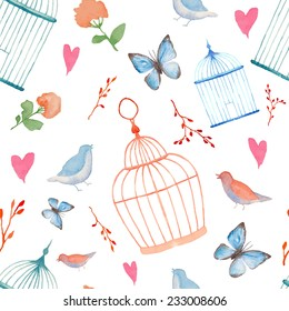Vintage watercolor cage pattern. Hand painted vector seamless texture with plants, cages, branches, hearts, butterfly and birds.