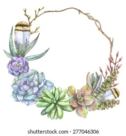 Vintage watercolor frame with tree branch, feathers and succulents. Floral art print in vector