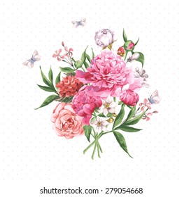 Vintage Watercolor Greeting Card with Blooming Flowers and Butterflies. Roses, Wildflowers and Peonies, Vector Illustration on a White Background