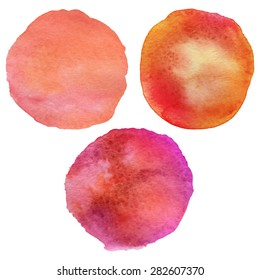 "Vintage watercolor painted circle backgrounds. Watercolor vector stains ""Summer Sunset Set"" backgrounds for retro design. Hand drawn watercolors stains vector illustration."