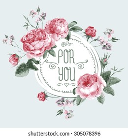 Vintage Watercolor Round Frame with Blooming English Roses. For You with Place for Your Text. Vector Illustration