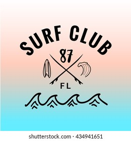 Vintage watercolor summer surf print with typography design Surf club, minivan, wave. Tropical vector design, fashion print, T-shirt design.