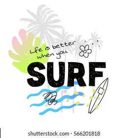Vintage watercolor summer surf print with typography design, palm trees, surfboard and lettering. Tropical vector set, fashion print, T-shirt design.