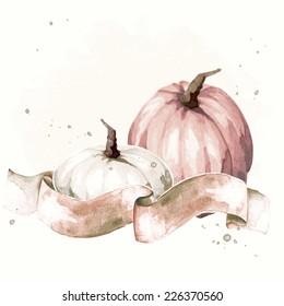 Vintage watercolor thanksgiving illustration (eps10);