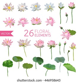 Vintage Waterlily Flowers in Watercolor Style. Vector Set