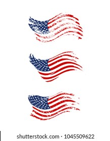 Vintage waving USA flag set. Vector waving American flags on grunge texture.