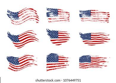 Vintage waving USA flag set. Vector waving American flags on grunge texture.