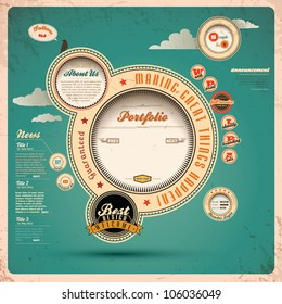 Vintage Web design. Vector Illustration.