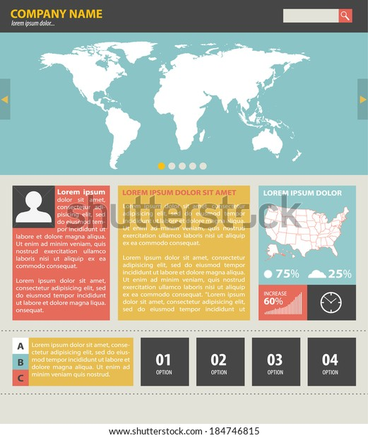 Vintage Website Template World Usa Map Stock Vector (Royalty