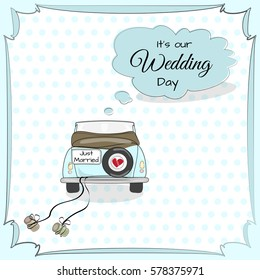 Vintage wedding card with car in bright colors