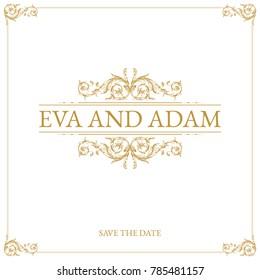 Vintage wedding card design with gold baroque ornament.
