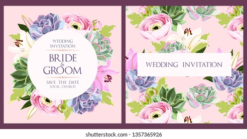 Vintage wedding card with flowers and succulents