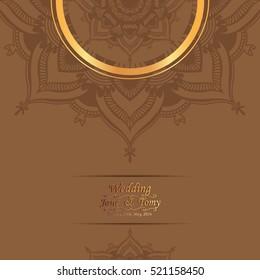 Vintage wedding card invitation Mehndi mandala design