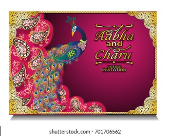Hindu Wedding Invitation Card Random Royalty Free Vectors