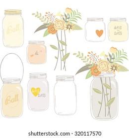 Vintage Wedding Flowers with Mason Jar