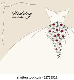 Vintage wedding invitation, background with dress and cascade bouquet of orchids